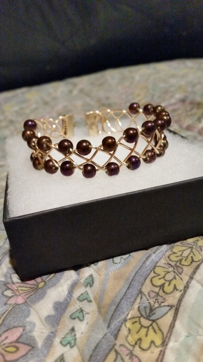 Metalic Purple Beaded Copper Bracelet