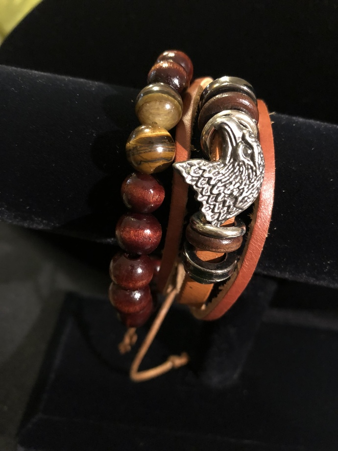 UNISEX Real Leather Band Braid Eagle Face Bracelet and Wood Bead Bracelet SET