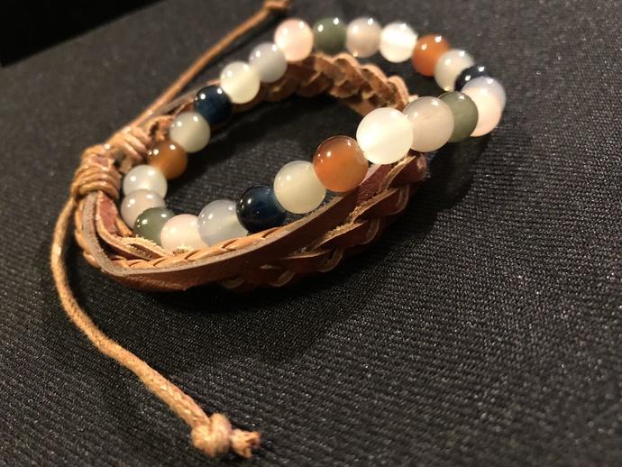 Leather Braided Bracelet and Multicolored Bead Set - Sandy Beach, Women