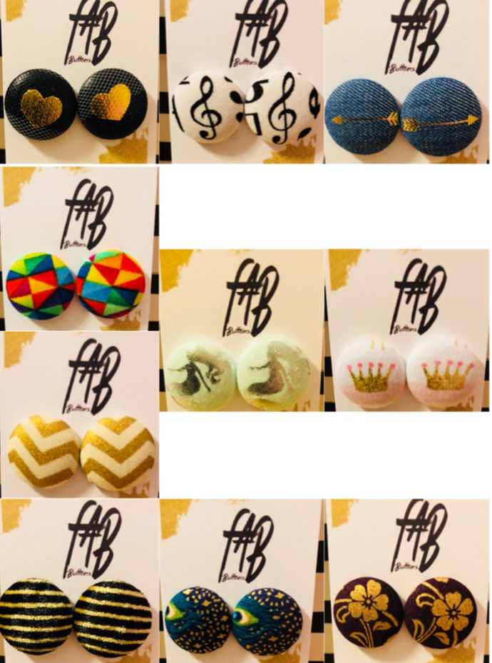 Fabric Button Earrings (M)