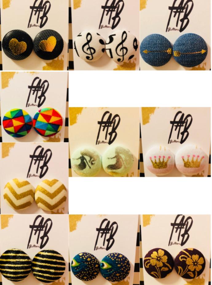 Fabric Button Earrings (M)