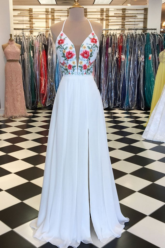 WHITE V NECK CHIFFON APPLIQUE LONG PROM DRESS, WHITE EVENING DRESS