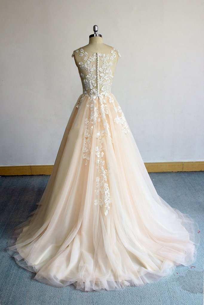 CHAMPAGNE EVENING DRESS CHAMPAGNE ROUND NECK TULLE LACE LONG PROM DRESS,