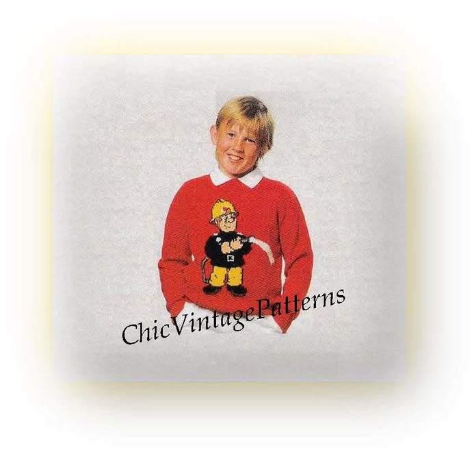 Knitted Childrens / Adult Sweater .. Fireman Sam Jumper .. PDf Knitting Pattern