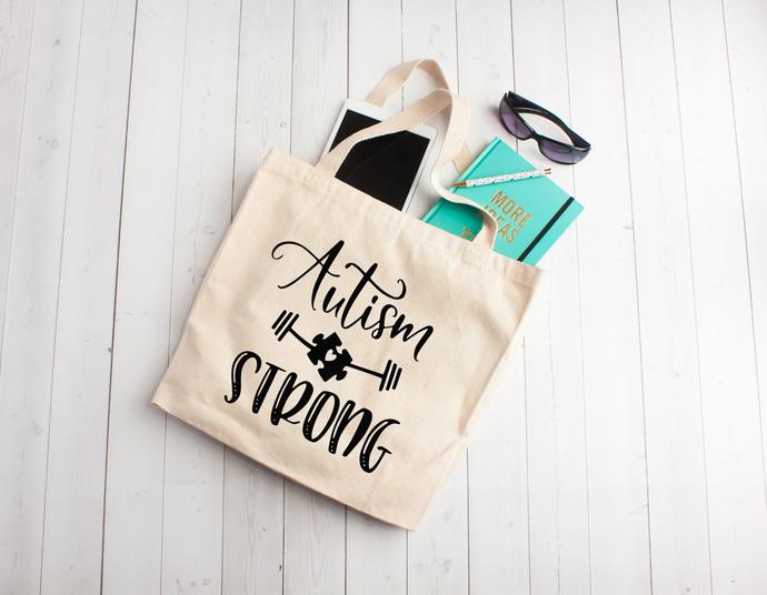 Autism, Autism Strong, Autism bag, decorated totes, Autism Awareness