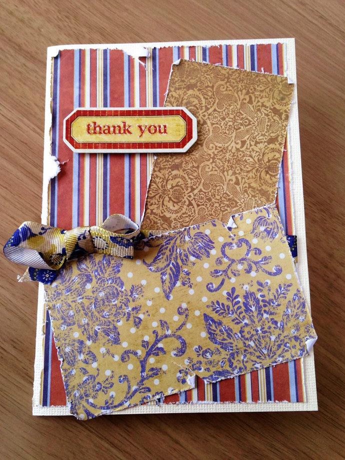 Thank You handmade card | thanks, thankful, shabby, peeling, handmade