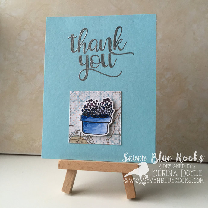 Handmade Thank You Greeting Card Silver By Seven Blue Rooks On