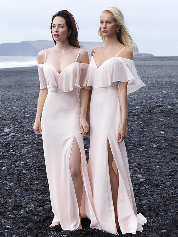 Sexy Newest Off Shoulder Slit Backless Cheap Chiffon Bridesmaid Dresses Prom