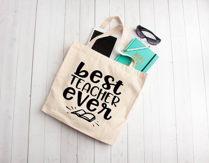Best Teacher Ever, personalized teacher gifts, Custom tote bags, unique teachers