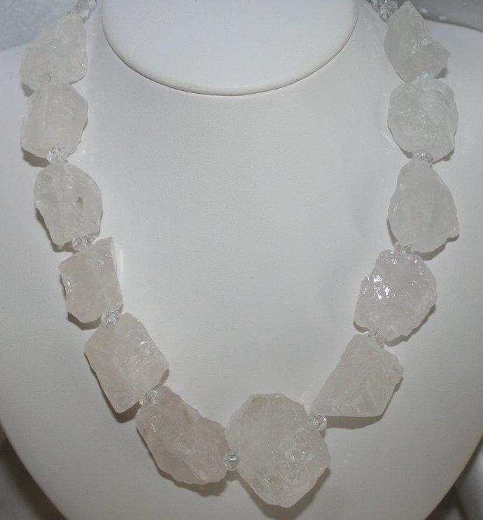 Chunky Raw Crystal Quartz Statement Necklace, Natural Rough Nugget Jewelry,
