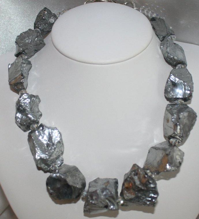 Rough Silver Titanium Quartz Statement Necklace, Raw Crystal Nugget Jewelry, Big