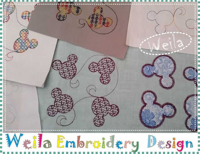 "Quilt block Mickey 4x4"" - Set 12pc Machine Embroidery Design Patterns baby"