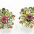 Vintage-Jewelry-Gold-Rhinestone-Earrings-Costume-Floral-Pink-Retro-Mid