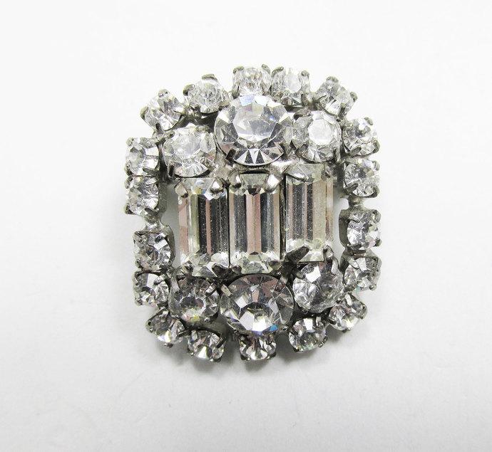 Vintage-Jewelry-Silver-Rhinestone-Pin-Brooch-Costume-Retro-Mid