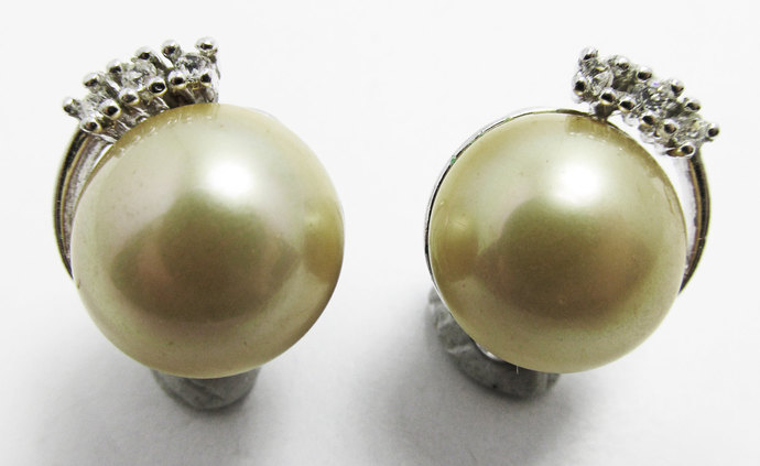 Vintage-Jewelry-Silver-Rhinestone-Pearls-Cabochon-Earrings-Costume-Retro-Mid