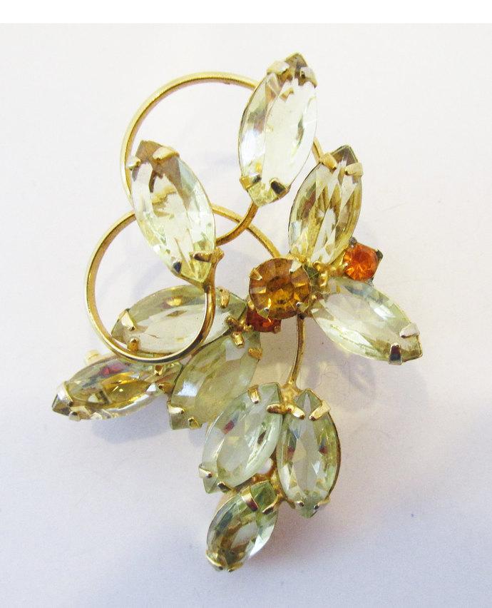 Vintage-Jewelry-Gold-Rhinestone-Pin-Brooch-Costume-Floral-Citrine-Retro-Mid