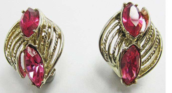 Vintage-Jewelry-Gold-Rhinestone-Earrings-Costume