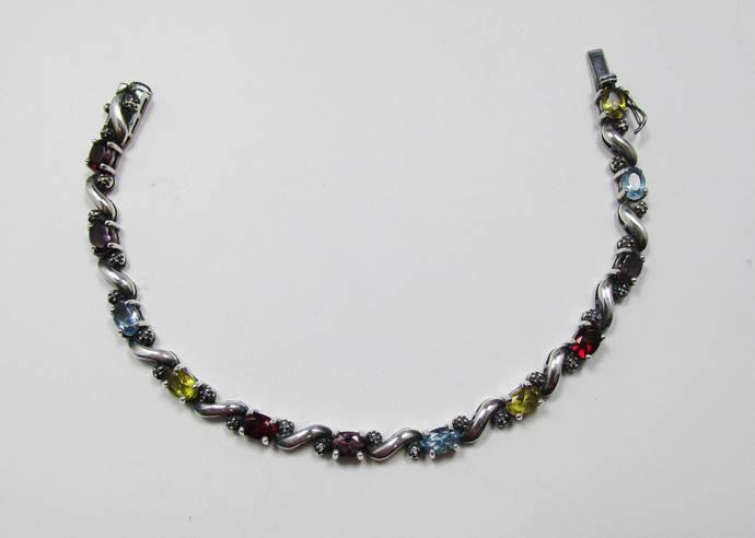 Vintage-Jewelry-Silver-Sterling Silver-Gemstones-Bracelet-Costume