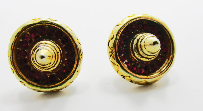 Vintage-Jewelry-Gold-Rhinestone-Earrings-Costume Jewelry-Costume-Hat-Retro-Mid