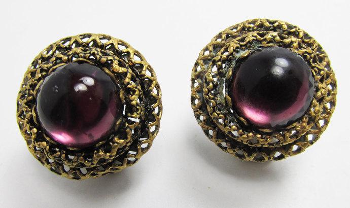 Vintage-Jewelry-Gold-Rhinestone-Cabochon-Earrings-Costume