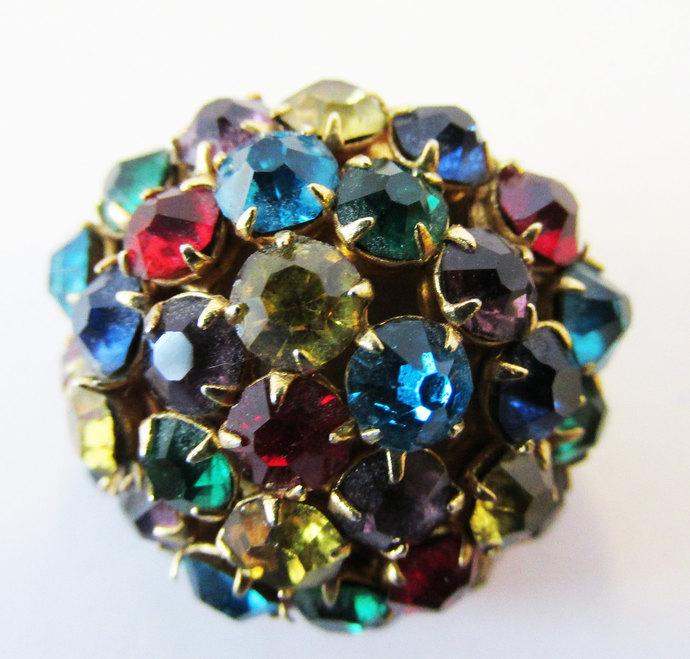 Vintage-Jewelry-Gold-Rhinestone-Pin-Brooch-Costume Jewelry-Retro-Mid