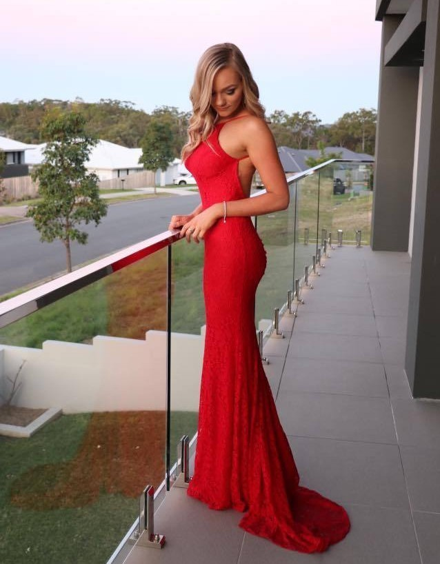 3b6c3b2b5c5 Sexy Backless High Neck Red Lace Prom Dresses 2018 Mermaid Formal Evening  Dress