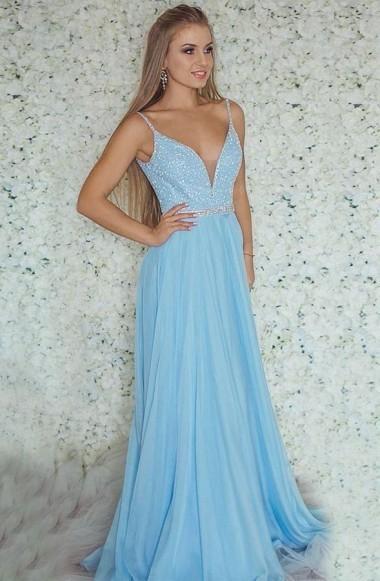 4f948f548fef Sexy Deep V-Neck Sky Blue Chiffon Beaded A-line Prom Dress with Sweep