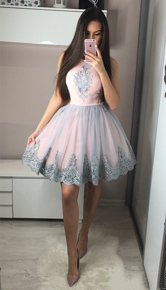Cute A-Line Round Neck Knee-Length Pink Homecoming Dress with Appliques Short