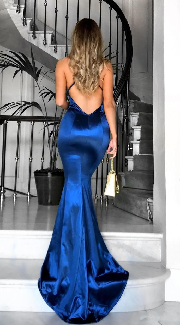 Backless Prom Dresses, Royal Blue Mermaid Prom Dresses, V Neck Prom Dress, Sexy