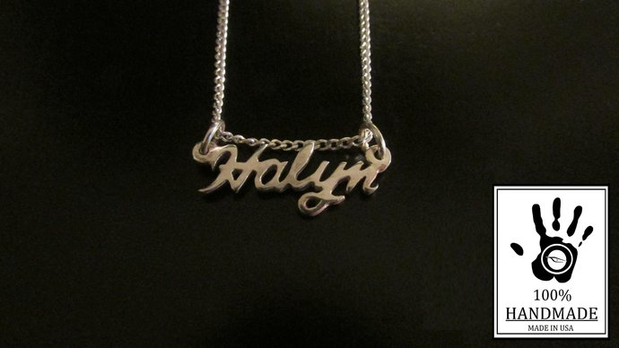 dcb26f852 Custom Sterling Silver 925 Name Necklace - Personalized Name Necklace -  Minimal
