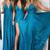 Sexy A-Line Prom Dresses Chiffon Deep V-Neck Floor-Length Turquoise Cheap Halter