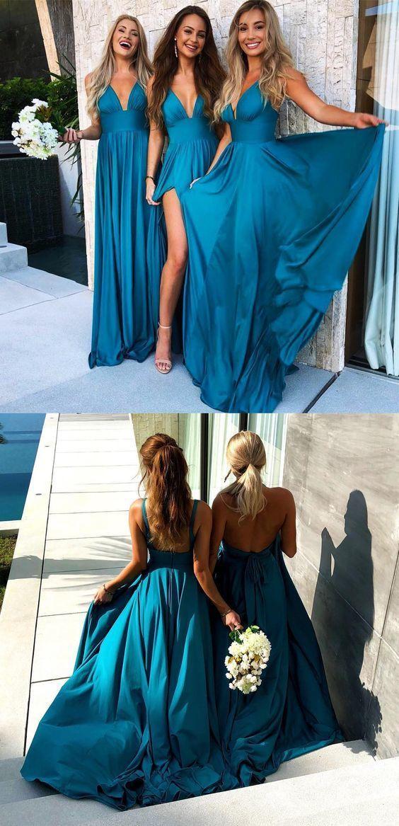1a50a49e5ff ... Sexy A-Line Prom Dresses Chiffon Deep V-Neck Floor-Length Turquoise  Cheap