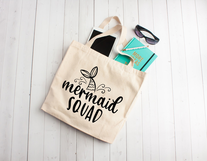Mermaid, mermaid squad, mermaid totes, bachelorette party totes, summer totes,