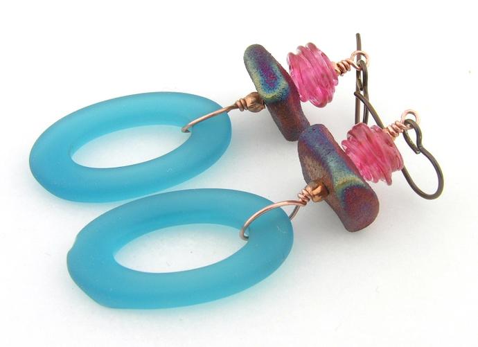 Copper Raku Earrings - handmade artisan copper pink aqua blue etched rustic oval