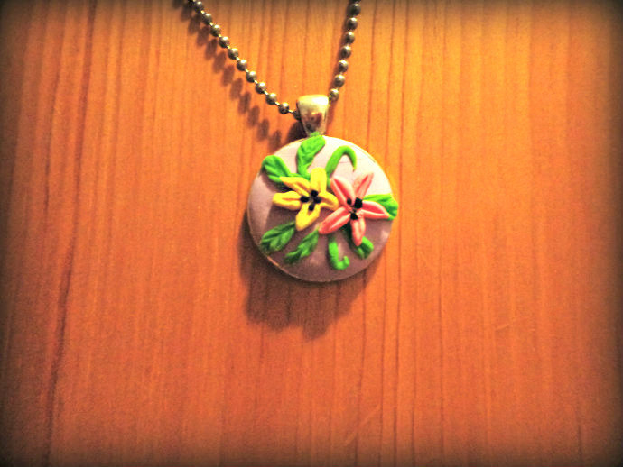 Flower Necklace - Clay Pendant - Lavender, Yellow, Pink,Green - Comes on a Ball