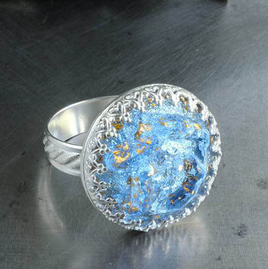 Baby Blue Glass Sterling Silver Ring ~ Authentic designer Schiaparelli Vintage