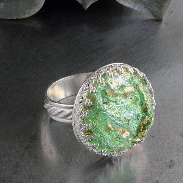 Kryptonite Green Glass Sterling Silver Ring ~ authentic designer Schiaparelli