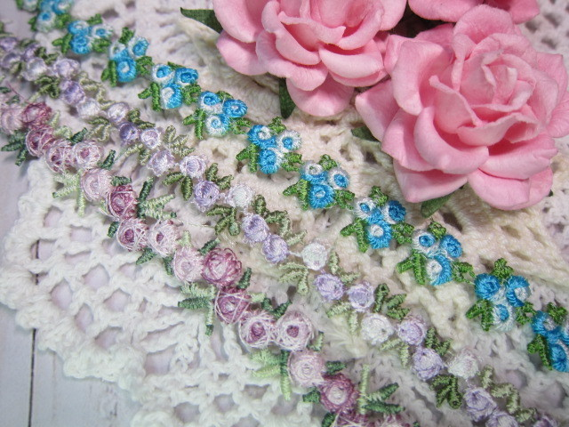 1 yd Small Rose Embroidered Lace Trim - Pink, Blue, Lavender
