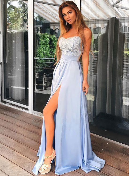 Charming Light Blue Prom Dress, Spaghetti Straps Chiffon Prom Dress, Long Lace
