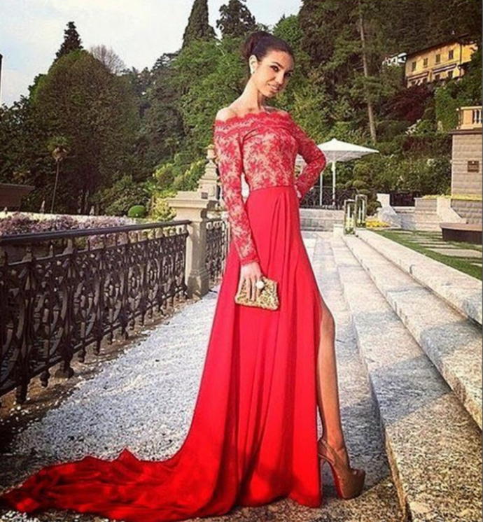 Red Long Sleeve Lace Prom Dress, Sexy Evening Dress , Custom Made Prom Dress,
