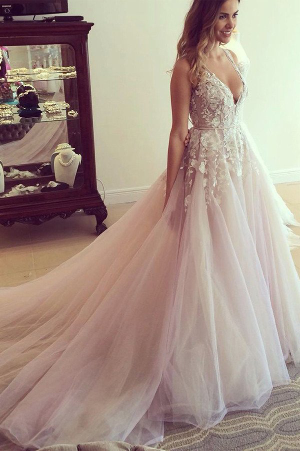Princess Wedding Dresses, Pink Wedding Dreses, Ball Gown Wedding Dress, Long