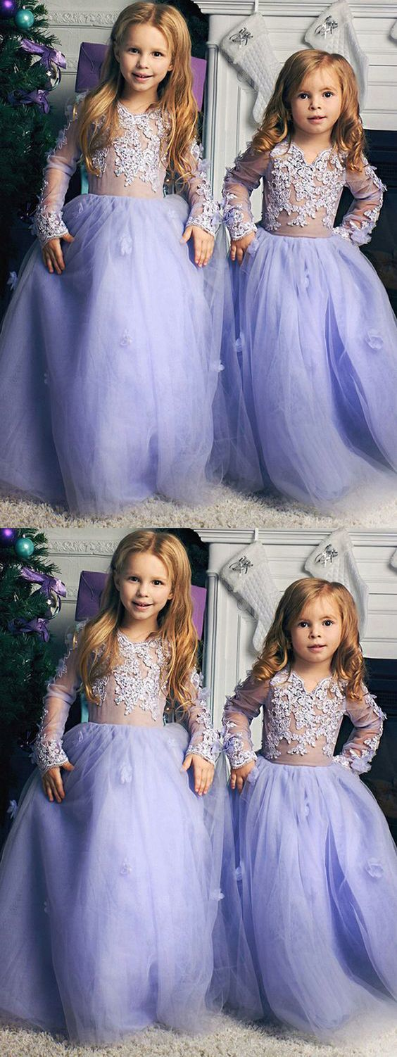 d86afc8a591 Cute A Line Round Neck Lavender Tulle Long Flower Girl Dresses with  Appliques