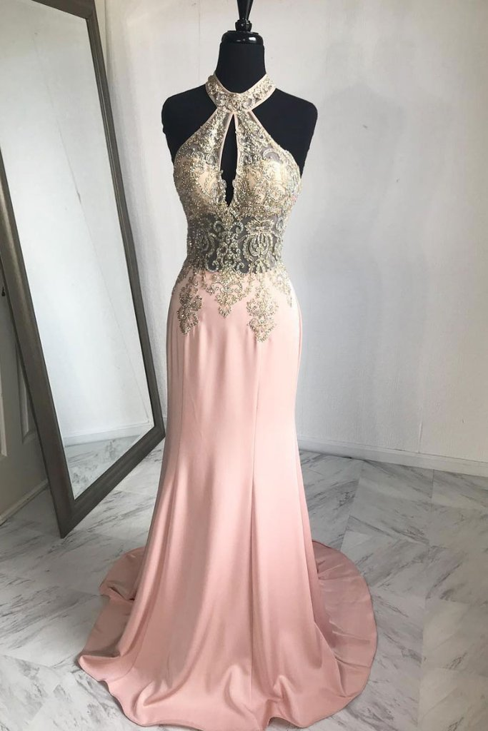 PINK LACE MERMAID LONG PROM DRESS, PINK EVENING DRESS