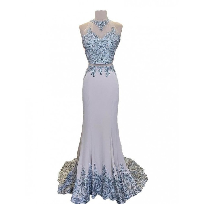 Prom Dresses Lace, Two Pieces Prom Dresses, Grey Prom Dresses, Prom Dresses