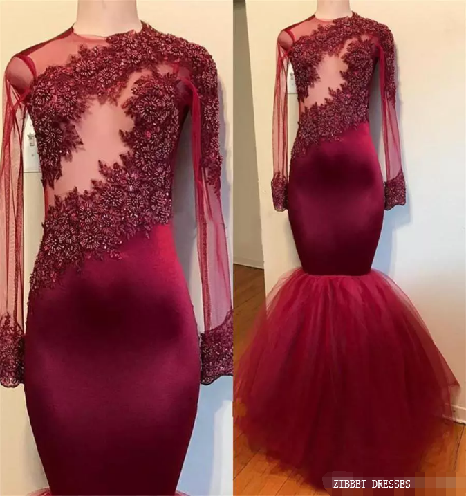 Sexy Burgundy Long Sleeve Evening Dress Formal Gowns Crystal Beaded Appliques