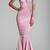 Sexy Pink Mermaid Evening Dresses Wear High Neck One Shoulder Long Sleeve Sheer