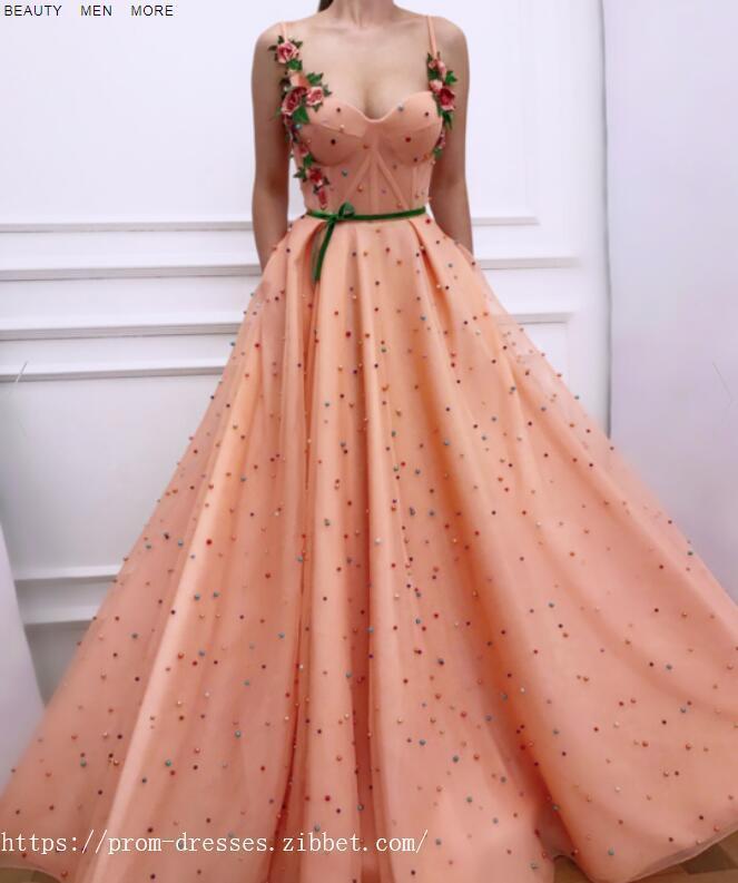 Sexy Spaghetti Straps ,Sweetheart Neckline ,A Line Prom Dress , Floor