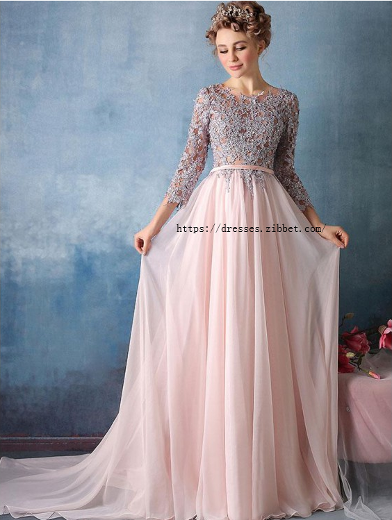 Long Prom Dresses, A-Line Prom Dresses, Prom Dresses Pink, Silver Prom Dresses
