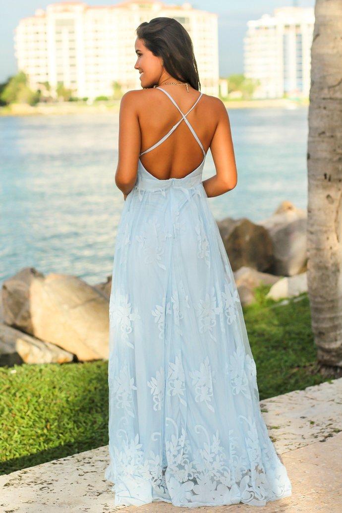 Light Blue Floral V-Neck Lace long prom dress, evening dress,prom dresses G3