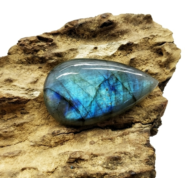 Cts 70.50  Semi Precious Natural Labradorite Black Rainbow Hand polished Pear